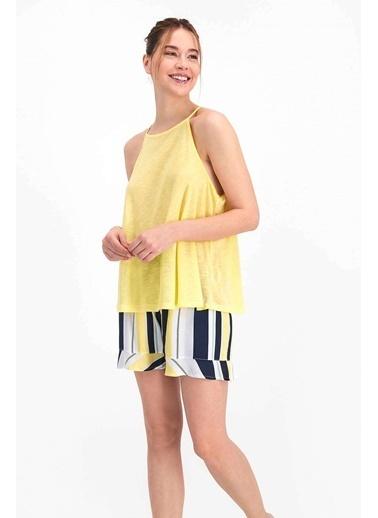 Arnetta Striped Limon Sarı Kadın Askılı Şort Takım Sarı